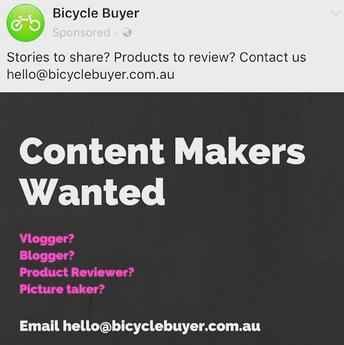 The legends from @bicyclebuyer are looking for content makers!   Probably more serious bike content than busted thongs and remembering to charge your bike lights though...   #bikelife #blogger #repost