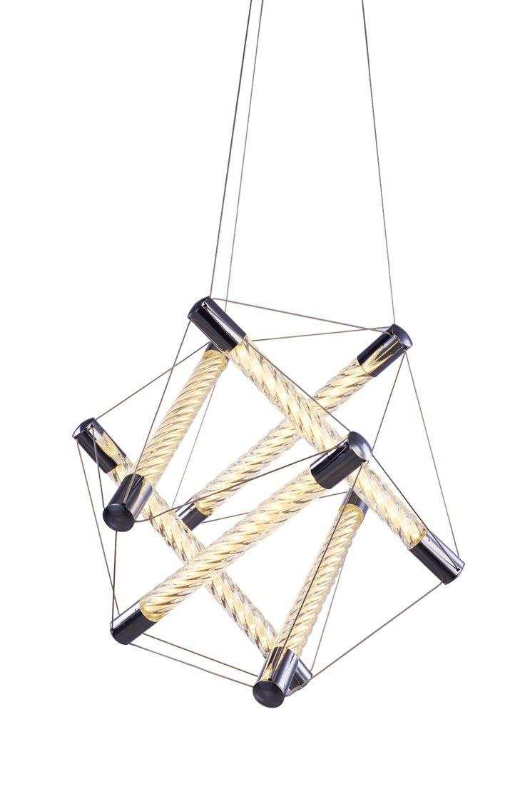 Home Lighting, Ceiling Pendant. Spiro Polygon chrome. Illuminati Lighting.