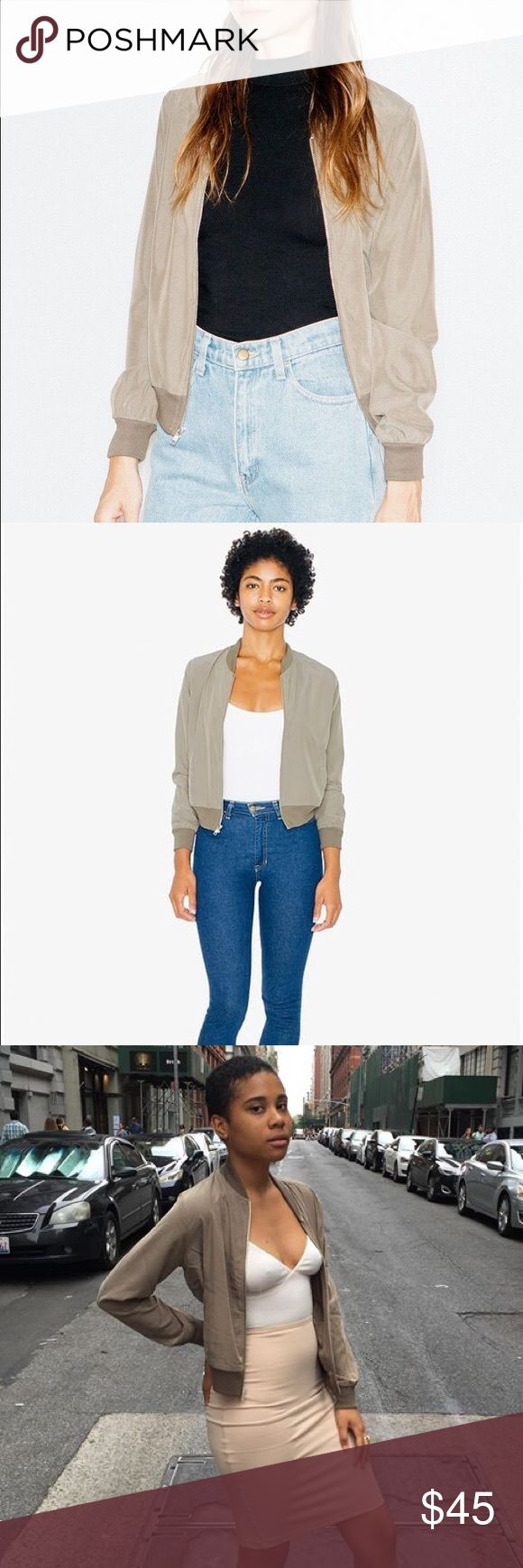 American apparel Amelia jacket One of AA best seller. very rare and hard to find right now. super pretty beige/green color. goes with everything in your closet. Only been worn once almost like brand-new in perfect condition American Apparel Jackets & Coats