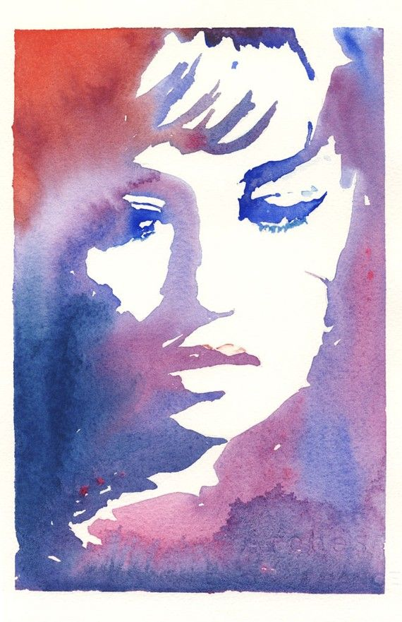 Watercolour Fashion Illustration Print - Jeanne Moreau: Watercolor Painting, Watercolors, Art, Cate Parr, Jeanne Moreau, Watercolour, Fashion Illustrations