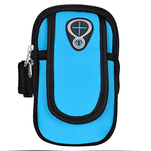 #UEETEK Armband Sports Arm Bag Cellphone Money Keys Cards Holder Jogging Running Cycling Hiking for Phones under 6 inch (Sky Blue)