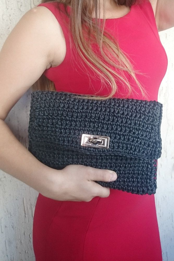 Black Crochet Clutch, Flat Rectangular Bag, Envelope Clutch Crochet, Daytime Clutch, Evening Clutch, Her Gift, Polyester Cord Crochet Bag by LTLDizaynDIY on Etsy