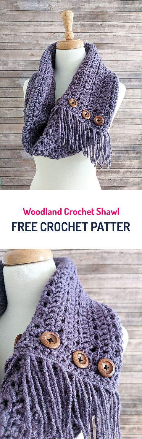 Woodland Crochet Shawl Free Crochet Pattern #crochet #yarn #crafts #style #home #homedecor