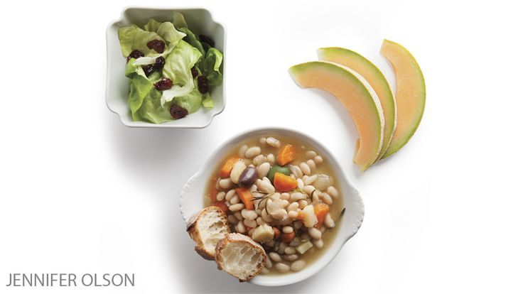Try this healthy recipe for Bean Cassoulet with Root Vegetables& Butter Lettuce Salad with Cherries, featured in our 21-day vegan challenge.