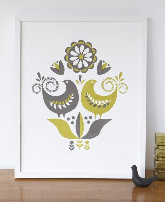 happybirds screenprint in grey and olive from roddyandginger etsy shop
