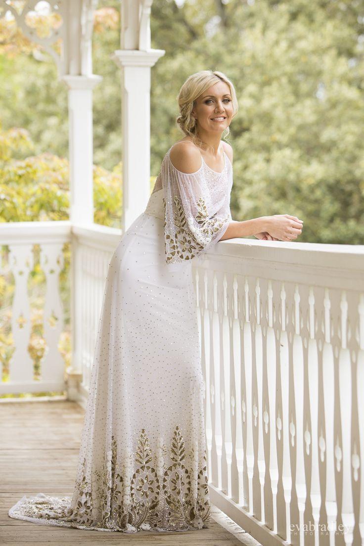 Cold shoulder wedding dress / boho wedding dress by Hawke's Bay wedding photographers, Eva Bradley Photography. At Ormlie Lodge