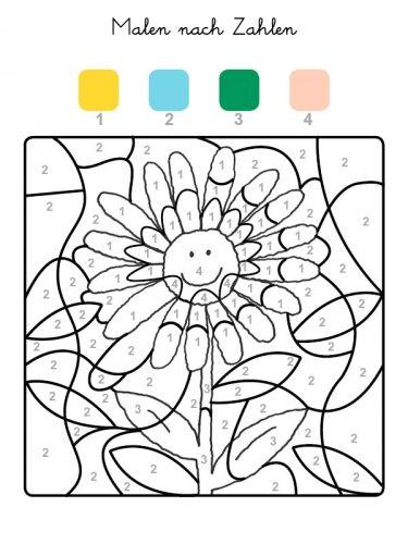 Malen nach Zahlen: Sonnenblume ausmalen zum Ausmalen