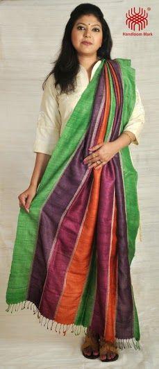 Description: Multi coloured Gachi Tussar Dupatta with Kantha work. Code No: D/DA30. Visit our Website: http://kamaniya.org/