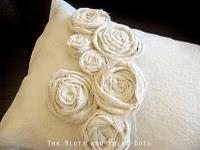 Drop cloth with roses pillow from Ink Blots & Polka Dots blog.