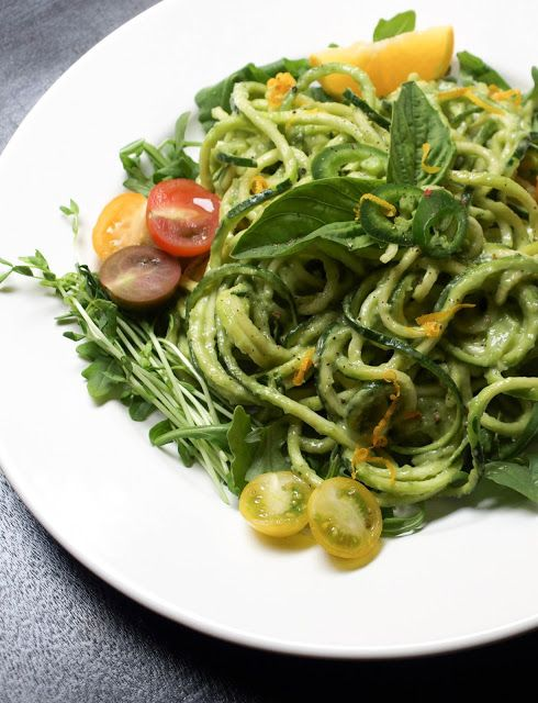 Zucchini Pasta + Creamy Avocado-Cucumber Sauce- THE SIMPLE VEGANISTA