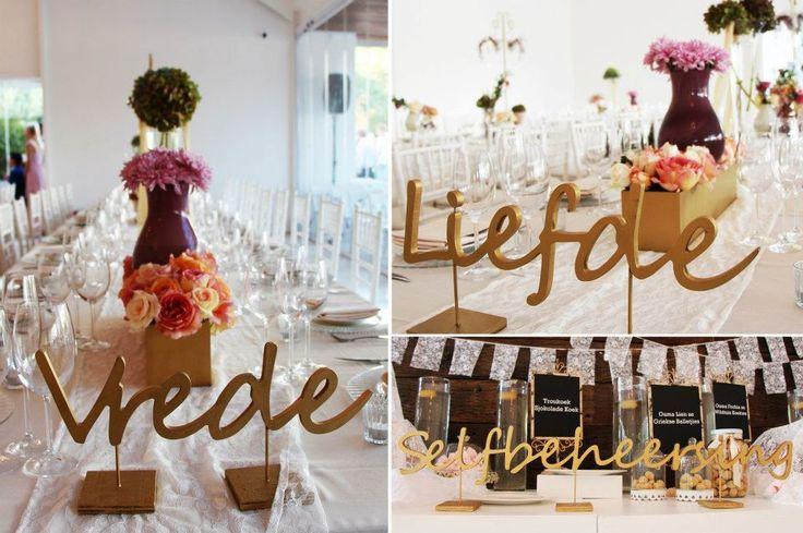 Dewald  u0026 Alo u00ebs se troue, tafel name, vrugte van die gees    stunning!!   Troues  Weddings