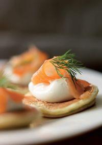 Herb pancakes with smoked salmon