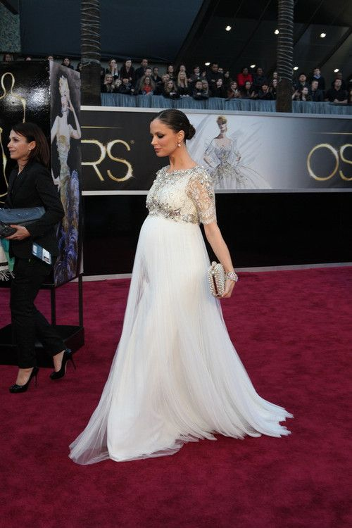Georgina Chapman looking incredible (and adorably pregnant) in a Marchesa gown of her own design at the Oscars!  This dress is fit for a wedding!  ~Maggie