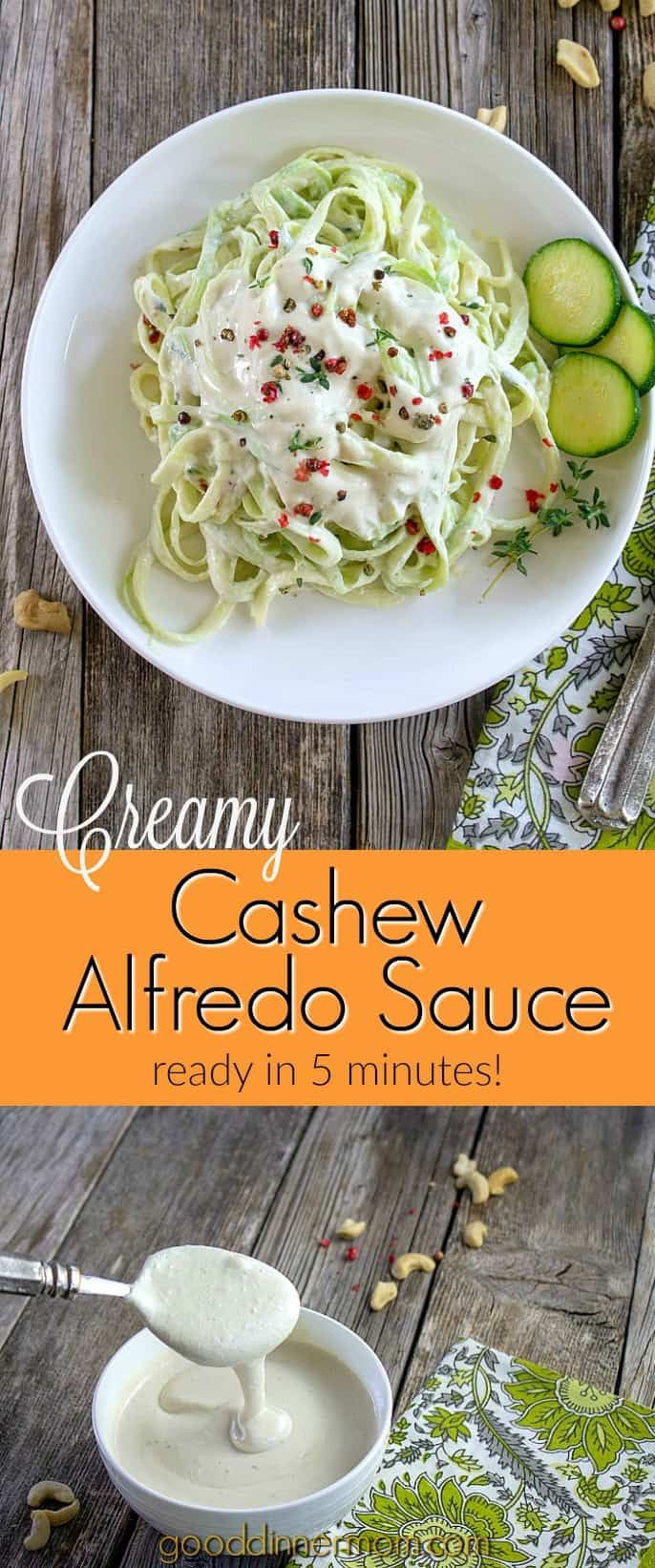 Creamy Cashew Alfredo Sauce is vegan and dairy-free. Ready in five minutes in your blender or food processor, serve over…