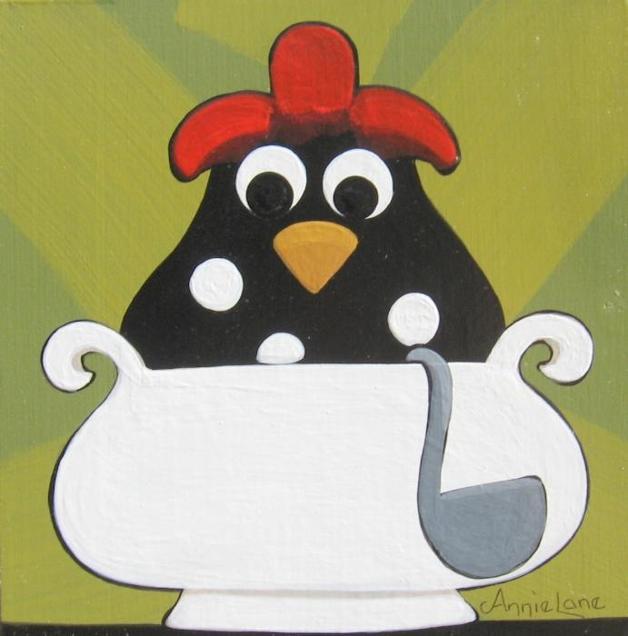 """"""" Chicken Soup """" Whimsical Rooster Art by Annie Lane  www.yessy.com/annielane"""
