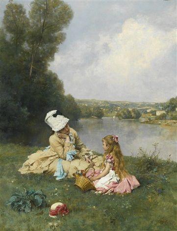 """""""Summer Days near Giverny, France"""" von Ferdinand Heilbuth (geboren am 27. Juni 1826 in Hamburg, gestorben am 19. November 1889 in Paris), französischer Maler deutscher Herkunft."""