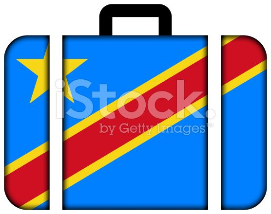 Suitcase with Democratic Republic of the Congo Flag royalty-free stock photo