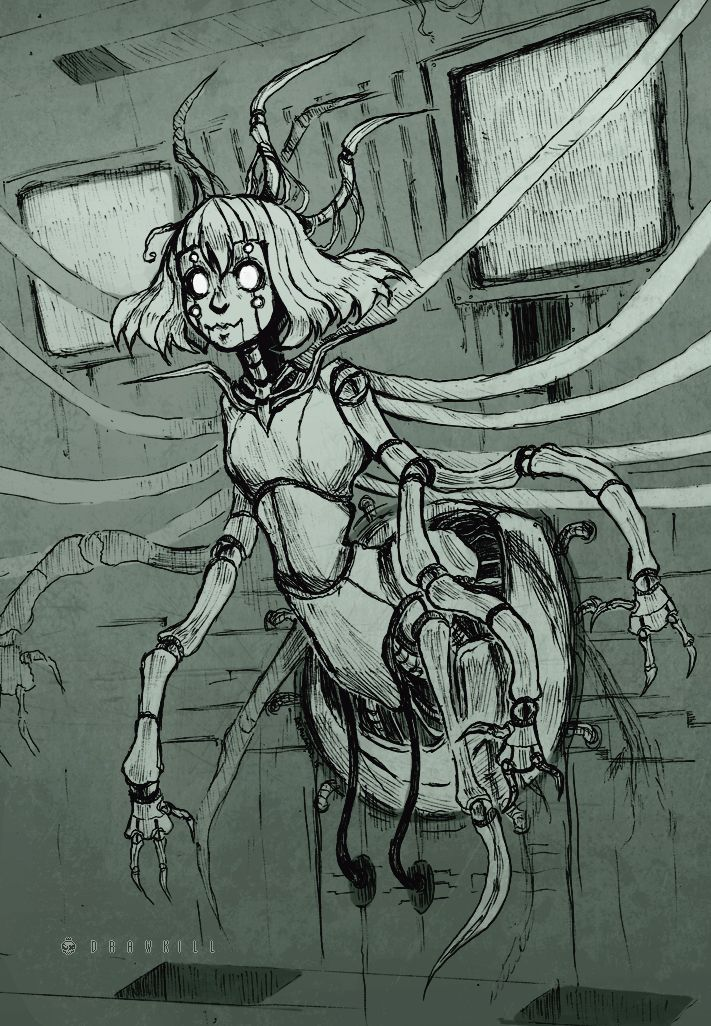 """drawkill: """"H1VEM0THER ______________ In class assignment from today, had to make a character out of some random words and draw it in 3 hours. I toned it when I got home tho. I like how she came out, gonna put her in the d-DR01D story...."""