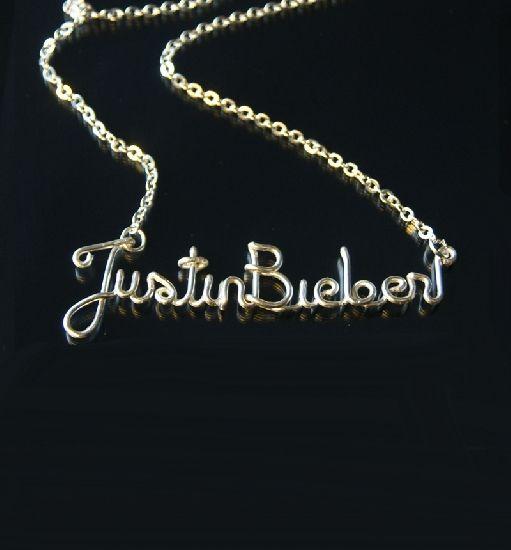 Colier Justin Bieber, realizat manual din sarma placata cu argint, cu lant. , by BanaDesigns, 20 Lei