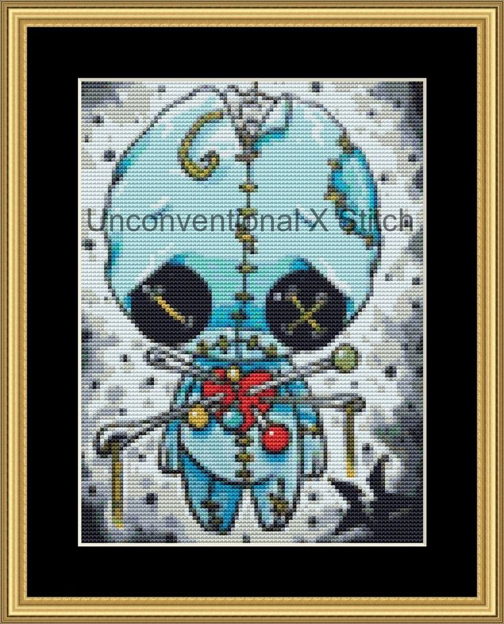 Voodoo Blue Boy mini cross stitch pattern - Licensed Sugar Fueled by UnconventionalX on Etsy