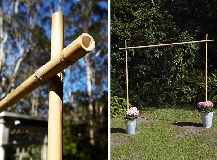 Wedding DIY: Build a Floral Wedding Arch - Taller, but narrower. Draped with flowing white fabric. Potted white hydrangeas for buckets. Could possibly hang sun catchers or white glass orbs at different lengths.