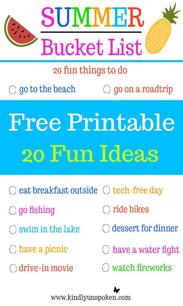 Summer Bucket List 20 Fun Must Do Activities Summer Bucket Lists Summer Bucket Business For Kids