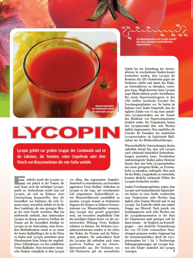 Lycopin aus Tomaten. Der Vitalstoff der aus den roten Früchten gewonnen wird. www.medicom.de