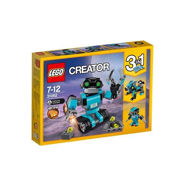 Ha kul med den söta 3-i-1-utforskarroboten!Imponera på dina vänner med denna fantastiska modell! Denna karakteristiska utforskarrobot har en färgskala i blått, svart och grått, klargröna ögon, fungerande bandfötter, roterande kropp och huvud och rörliga armar med fungerande klo och sökljus. Bygg om denna LEGO® Creator 3-i-1-modell till en robothund med en lysande jetpack eller en robotfågel med lysande ögon!Från 7-12 år.