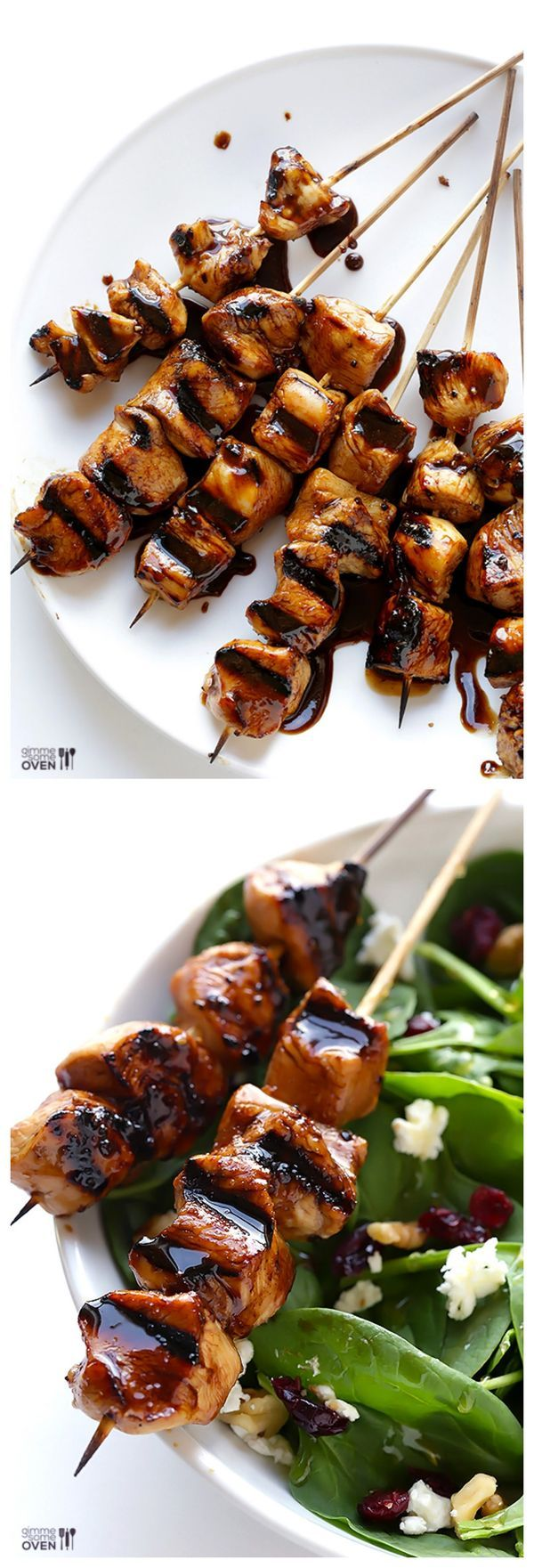 Easy Balsamic Chicken Skewers -- all you need are 5 easy ingredients to make these delicious kabobs!