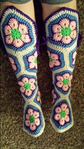 African flower hexagon boots