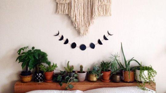 boho grunge bedroom - Google Search   moon phase decoration