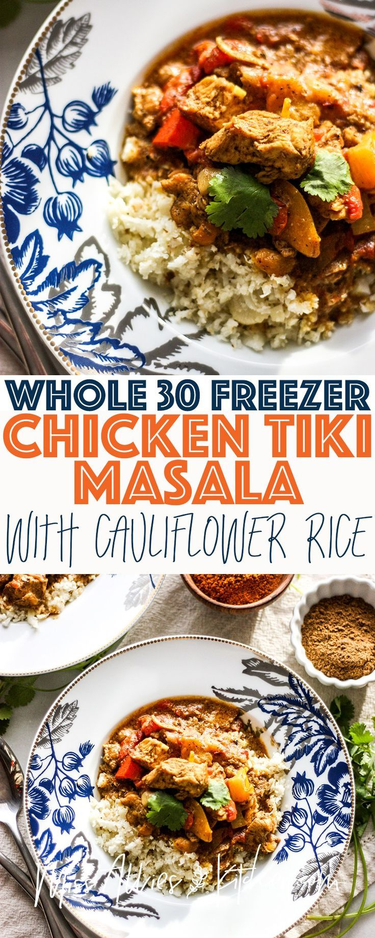 A cheap and easy #whole30 dinner packed with chicken for protein and cauliflower rice that you can make quick! Perfect for a party because you can meal prep it and freeze it and make when you're ready! #whole30 #healthy #healthydinner #paleo #glutenfree #dairyfree