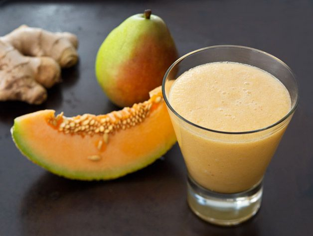 Fresh ginger combines with sweet pear and melon to make this a great morning recipe.