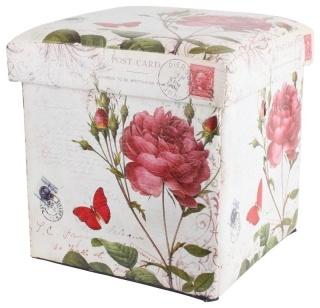 """Taburet-cutie """"Botanique"""" - un obiect de mic mobilier cu dublu rol, acest cub-taburet poate servi deopotrivă drept cutie pentru depozitare şi accesoriu decorativ. Este tapiţat cu piele ecologică şi decorat cu motive florale în stil retro."""