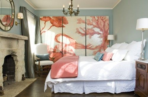 Love this color combo, the look, the whole room!Decor, Wall Art, Ideas, Coral Bedroom, Santa Barbara, Bedrooms Design, Colors, Master Bedrooms, Mediterranean Bedrooms