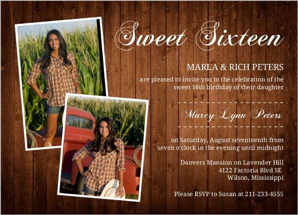 Rustic Western Photo Sweet Sixteen Invitation from Invite Shop. Would be cool to have professional photos taken of the birthday girl to go on cute sweet 16 invitations #Sweet16PartyIdeas #Sweet16Invitations #Sweet16