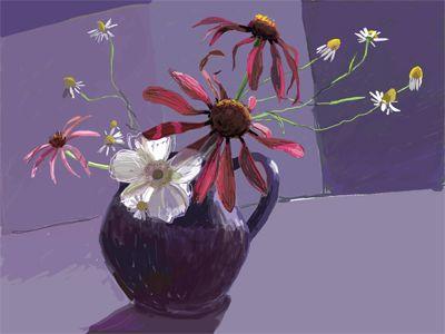 ipad art blue jug of flowers, daisies, ipad paintings, digital art. Kathy Lewis