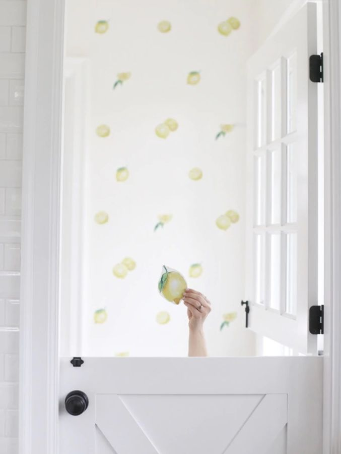 LOVE this lemon wallpaper! So stinkin cute! Peel and stick