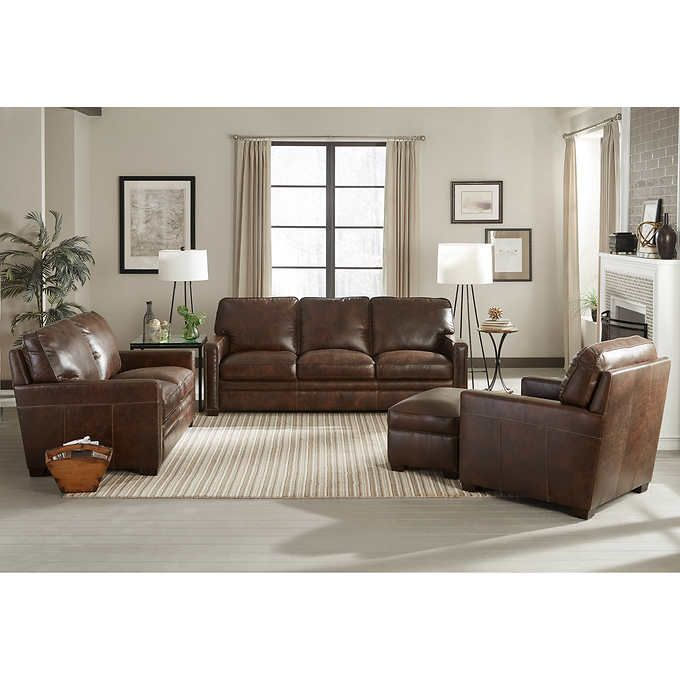 Windcrest 4 Piece Top Grain Leather Set Downstairs Remodel