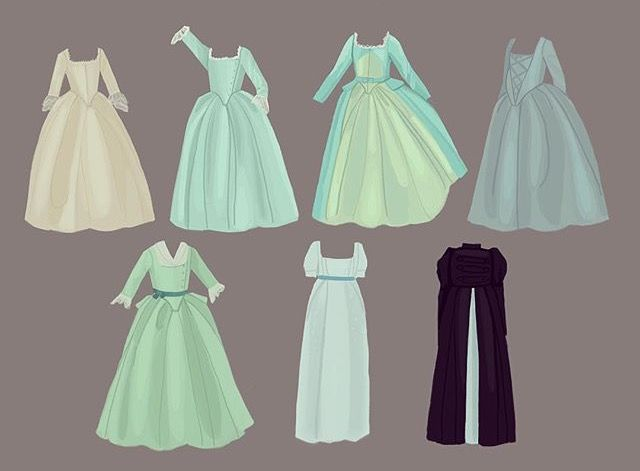 All of Eliza's dresses