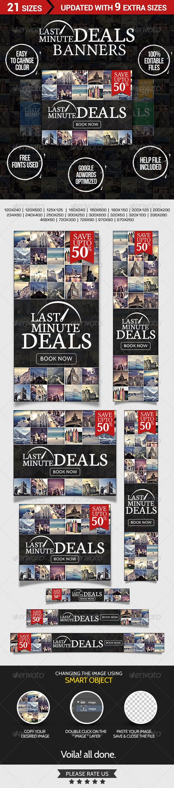 Last Minute Deals! Travel Web Banners Template PSD | Buy and Download: http://graphicriver.net/item/last-minute-deals-travel-banners/7218547?WT.ac=category_thumb&WT.z_author=doto&ref=ksioks