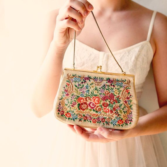 Tapestry - vintage embroidered purse