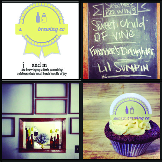 "Couple baby shower - ""brewing up a little something - come celebrate their small batch bundle of joy"""