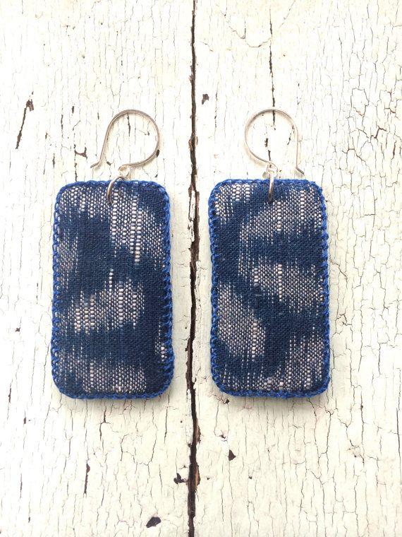 Indigo Kasuri Textile Earrings with Sterling by lesliejanson on Etsy.