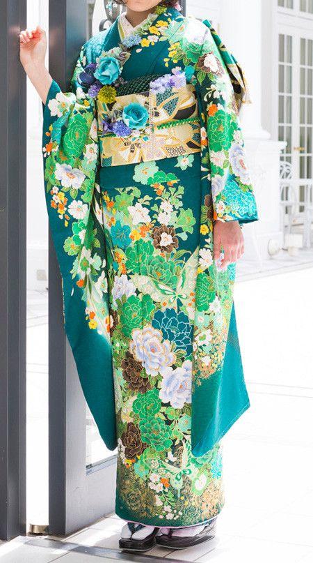 blue green kimono