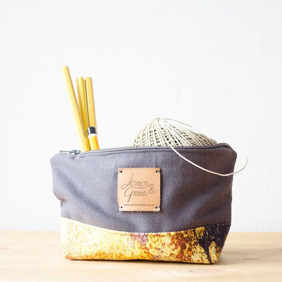 Zipper Pouch with bottom grey and yellow eco cotton storage organizing bag