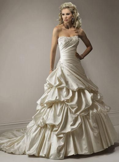 Fabric: Satin  Embellishment:Beaded  Silhouette:Ball gown  Neckline: Strapless  Sleeves: Sleeveless  Back: Lace up  Train:Chapel Train  PHOTOGRAPHED IN:Champagne Mist     Estimated Delivery Time: 30-40 days $299.00