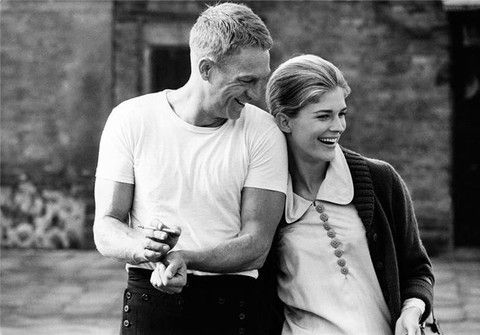 """Candice Bergen and Steve McQueen have a laugh while rehearsing on the set of """"The Sand Pebbles.""""  Taiwan.  [1966] Photo: John R. Hamilton."""