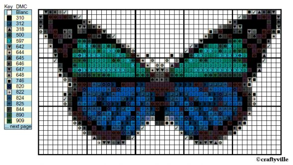 Free butterfly cross stitch pattern