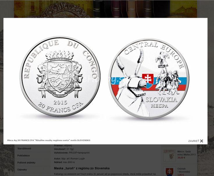 "Krásne mince ""Rituálne masky regiónov sveta"" http://www.ehobby.sk/investicne/minca-ag-20-francs-cfa-ritualne-masky-regionov-sveta-motiv-slove/"